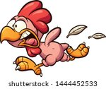 plucked cartoon chicken running ... | Shutterstock .eps vector #1444452533