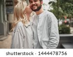happy young man standing near...   Shutterstock . vector #1444478756