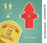 vector icon flat firefighter... | Shutterstock .eps vector #144449479
