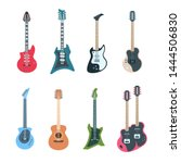 guitar set. flat electric and... | Shutterstock .eps vector #1444506830