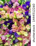 Small photo of Rose flower decorate as bouquet, beautiful texture on floral floor, flowery pattern background, flowery texture background, rose flower background, pink flowery, purple, green shade, roseate wall