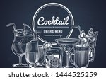 sketch cocktail background.... | Shutterstock .eps vector #1444525259