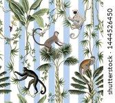 tropical vintage monkey  sloth... | Shutterstock .eps vector #1444526450