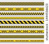 yellow and black barricade... | Shutterstock .eps vector #1444536623