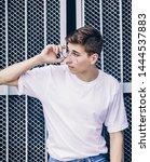 stylish man in white empty t...   Shutterstock . vector #1444537883