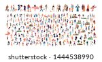 crowd of flat illustrated... | Shutterstock .eps vector #1444538990