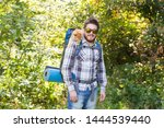 Stock photo adventures summer tourism and nature concept tourist arriving to a camping with his cat 1444539440