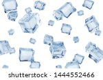 Falling ice cube, isolated on white background, selective focus - stock photo