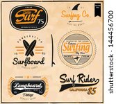set of summer   surfing design  ... | Shutterstock .eps vector #144456700