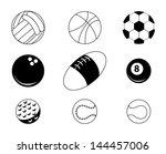 sports balls over white... | Shutterstock .eps vector #144457006