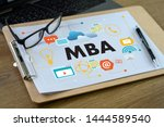 mba laptop on table business... | Shutterstock . vector #1444589540