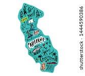 cartoon map of california... | Shutterstock .eps vector #1444590386