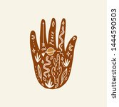 hand with tattoo. crystals ... | Shutterstock .eps vector #1444590503
