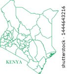 kenya green line map vector | Shutterstock .eps vector #1444643216
