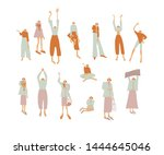 group girls or woman dressed in ... | Shutterstock .eps vector #1444645046