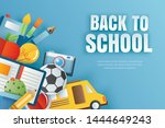 back to school banner with... | Shutterstock .eps vector #1444649243