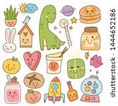 set of kawaii doodles  cute... | Shutterstock .eps vector #1444652186