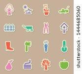 garden color sticker vector...