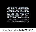vector silver maze alphabet set.... | Shutterstock .eps vector #1444729496