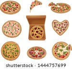 set of images of pizzas of... | Shutterstock .eps vector #1444757699