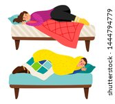depressed woman and man in bed  ...   Shutterstock .eps vector #1444794779
