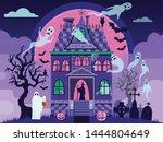 creepy halloween haunted house... | Shutterstock .eps vector #1444804649