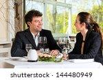 businesspeople having business... | Shutterstock . vector #144480949