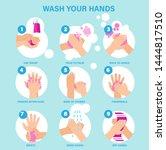 washing hands properly... | Shutterstock .eps vector #1444817510