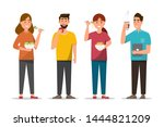 people eating healthy food and... | Shutterstock .eps vector #1444821209
