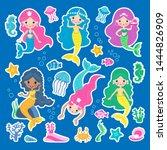 set of of cute mermaid princess ... | Shutterstock .eps vector #1444826909