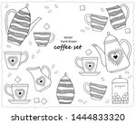 hand drawn doodle coffee set.... | Shutterstock .eps vector #1444833320