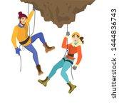 alpinist couple climb the... | Shutterstock .eps vector #1444836743