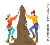 alpinist couple climb the... | Shutterstock .eps vector #1444836749