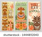hawaii retro banners. aloha...   Shutterstock .eps vector #1444852043