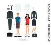 vector set of clothes for man... | Shutterstock .eps vector #1444876406