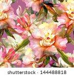 pink peonies seamless pattern   Shutterstock . vector #144488818