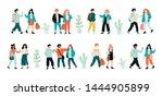 happy school children standing... | Shutterstock .eps vector #1444905899