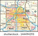 grand rapids  michigan area map   Shutterstock .eps vector #144494293