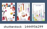 laboratory flasks set of cards... | Shutterstock .eps vector #1444956299
