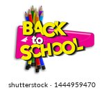 back to school banner sale with ... | Shutterstock .eps vector #1444959470