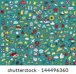 big doodled summer and holidays ... | Shutterstock .eps vector #144496360