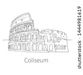 famous coliseum drawing sketch... | Shutterstock .eps vector #1444981619