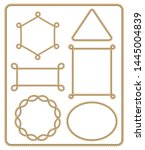 brown rope frame set. vector... | Shutterstock .eps vector #1445004839