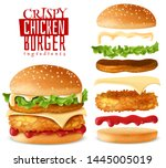 burger maker constructor crispy ... | Shutterstock .eps vector #1445005019
