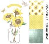 glass jar  sunflowers  ribbon ... | Shutterstock .eps vector #144500920