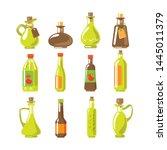 set of apple cider vinegar ... | Shutterstock .eps vector #1445011379