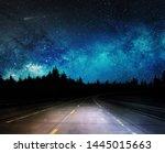 dark night road through forest... | Shutterstock . vector #1445015663