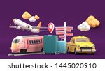 suitcase surrounded by taxis ... | Shutterstock . vector #1445020910