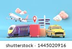 suitcase surrounded by taxis ... | Shutterstock . vector #1445020916