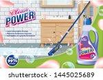 bottle clean power. mop washes... | Shutterstock .eps vector #1445025689